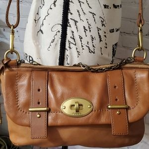 Fossil Leather Crossbody/Chain strap bag